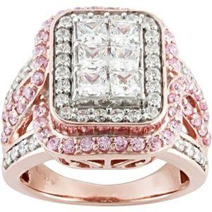 Bella Luce Pink & White 3.90ctw Ring